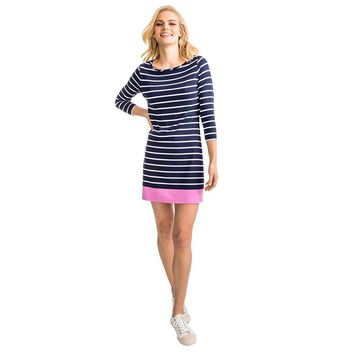 Coastline Stripe Knit Dress in Pink Cyclame by Southern Tide