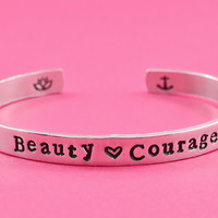 Beauty & Courage - Hand Stamped Aluminum Cuff Bracelet,  Motivational Bracelet, Inspirational Gift