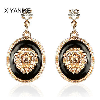 2015 New HOT New Fashion Designer Brand Black Enamel Exaggerated Rhinestone Lion Head Earrings For Women Brincos XY-E170