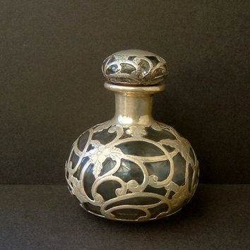 Antique Victorian Solid Silver Overlay Glass Bottle Perfume Bottle Scent Bottle Silver Filigree Bottle