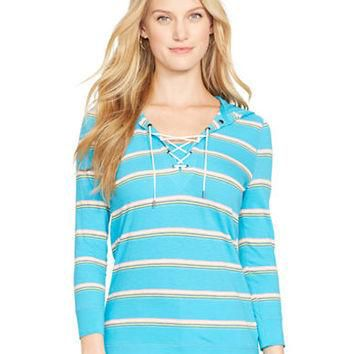 Lauren Ralph Lauren Serape-Striped Lace-Up Hoodie Top