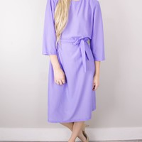 Vintage 80s Lavender Midi Dress