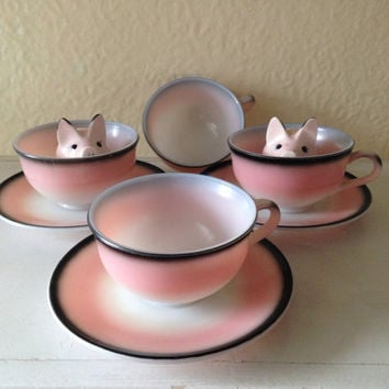 Mid Century Modern Milk Glass Set of Pink Hazel Atlas Teacups Coffee Cups and Saucers