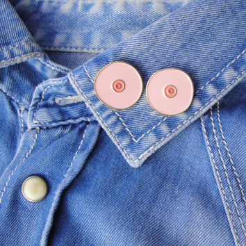 2 Boob Enamel pins pack - Boobs brooch - Pink Boobie pin's - pin s set - tit pin - jewelry boobie broche sein fun kitsch girly tit brooch