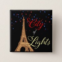 Eiffel Tower City Lights Square Button