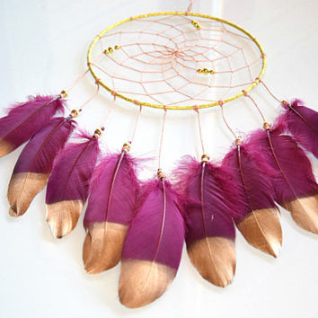 Gold Dream Catcher, Bohemian Dream Catchers Decor, Maroon Dream Catcher, Boho Wall Hanging Bedroom Wall Decor, Girls Bedroom Decor