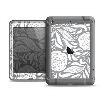 The Gray Floral Pattern V3 Apple iPad Mini LifeProof Nuud Case Skin Set