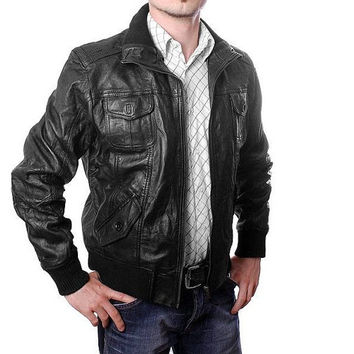 Men Black Biker leather jacket,  pure leather,mens real leather jacket, black leather jacket, bomber leather jacket.