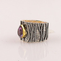 Two Tone Amethyst Sterling Silver Textured Band Ring
