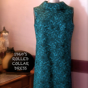 1960s Style Rolled Collar Shift Dress/Sleeveless/Turquoise/Blue/Black/Brocade Fabric/Size 12-14/Medium/Vintage Style Dress