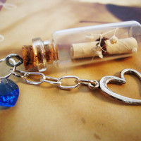 Secret Scroll Bottle Necklace, Message In A Bottle, Personalized Necklace, Friendship, Real Babys Breath, Swarovski, Free Shipping in USA