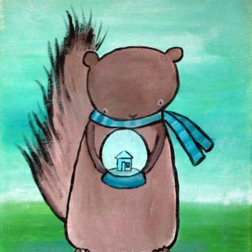 Children's Art, Squirrel with Snow Globe Painting, Woodland Nursery Decor, Kids Wall Art