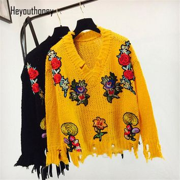 Heyouthoney New Autumn and Winter Vintage Embroidery Floral Women Sweater Women's Female Pullover Knit Loose Hem Ripped Sweaters