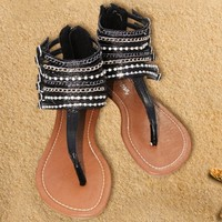 Sandals black buckle straps Flat strappy ankle with chains and rhinestones