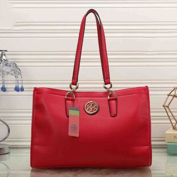 Tory Burch Women Leather Flower Print Shopping Tote Handbag Shoulder Bag Red I-MYJSY-BB