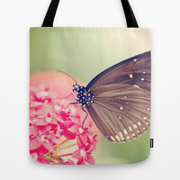 Spotted Black Crow Butterfly Tote Bag by Erin Johnson