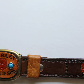 Vintage Stamped Leather Harley Davidson Belt with Buckle 1970s