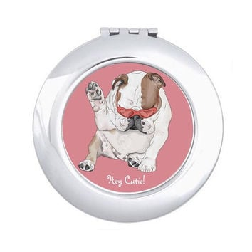 English Bulldog Compact Mirror, hand mirror for make-up application, bulldog lovers, hey cutie