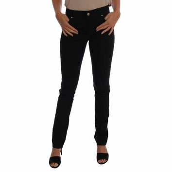 Black Cotton Stretch Slim Denim Pants