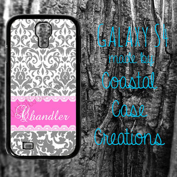 Grey Damask Pink Monogram Custom Samsung Galaxy S4  2 Piece Durable Cell Phone Case Cover Original Design