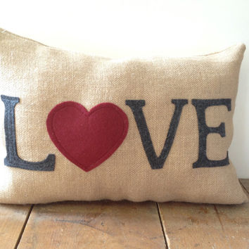 """Ready to ship! Valentine's Day Burlap Pillow ~ LOVE gray felt letters and red felt heart ~ 12x18"""""""
