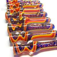 Glass Pipe, Sparkly Dichro, Wig Wag Glass Chillum, Hitter, Pipe, READY TO SHIP Paul Brehm, Hand Blown Pipes, Cgge Team,