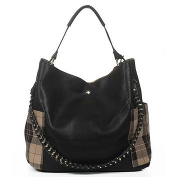 Melissa Plaid Pocket 2in1 Purse - Black