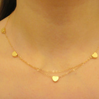 Gold Small Hearts Necklace, Layered Necklace, Everyday Necklace, Small Heart Necklace, Gold Necklace, Couple's Necklace, Valentine's Day