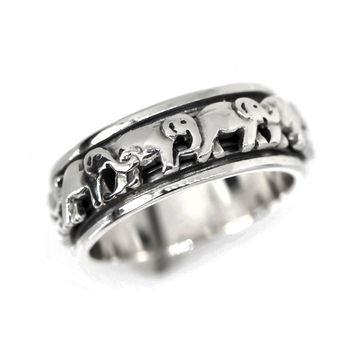 Sterling Silver Elephant Spinner Ring