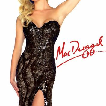 Strapless Black and White Gown by Mac Duggal Black White Red