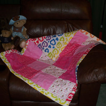 Pink baby girl flannel quilt hearts i love grandma little bears red and white swirls solid pinks