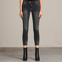 ALLSAINTS US: Womens Biker Cropped Jeans (Dark Grey)