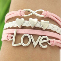 love infinity bracelet-- love heart beads,antique silver charm bracelet, pink&white braid leather