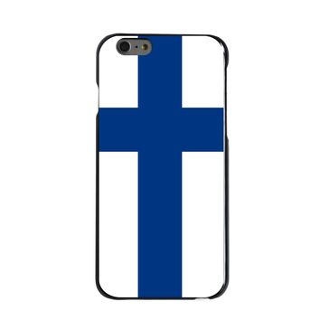 DistinctInk® Hard Plastic Snap-On Case for Apple iPhone - Finland Flag