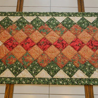 Handcrafted Quilted Poinsettia Table Runner decor gift metallic green red gold cream