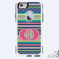 iPhone 6 Otterbox Commuter Case Monogrammed Aztec Custom Color Initials Personalized Cell Phone Case Protective Plastic Hard Cover