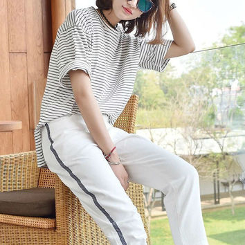 Horizontal Stripes Loose T-Shirt