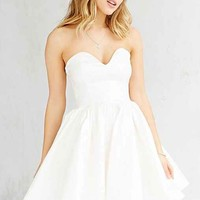 Oh My Love Strapless Foil Mini Dress- White