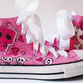 painted converse high tops pink skulls skullie with bling chucks