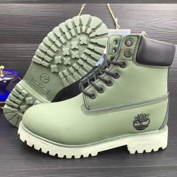 Timberland Rhubarb Boots Trending Men Women High Help Shoes Waterproof Martin Boots Lovers Boots Army Gree I