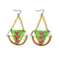 Brass Geometric Palm Tree Earrings in Neon Pink and Green, Tribal Statement Earrings | Boo and Boo Factory - Handmade Leather Jewelry