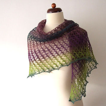 knitted lace shawl wool triangle scarf purple green teal