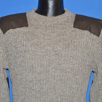 80s LL Bean Brown Wool Rib Knit Sweater Medium