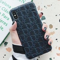 DIOR Fashion New More Letter Leather Women Men Protective Cover Phone Case