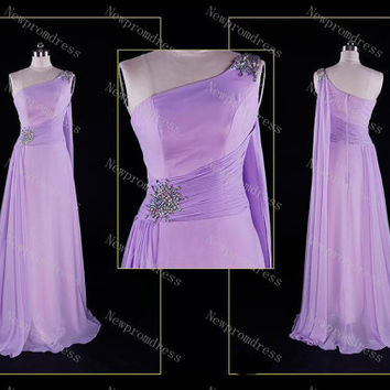 Custom dress One shoulder with beads chiffon pleated The last 10 Dresses Cheapest prom dresses
