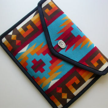 "Pendleton 15 "" MacBook Pro Laptop Cover case sleeve - Turquoise Native American print - VELCRO CLOSURE"