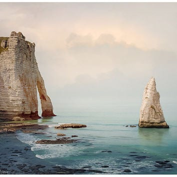 Sea photography - Nautical landscape bathroom decor - large wall art print - teal living room decor - seascape Etretat - men gift ideas