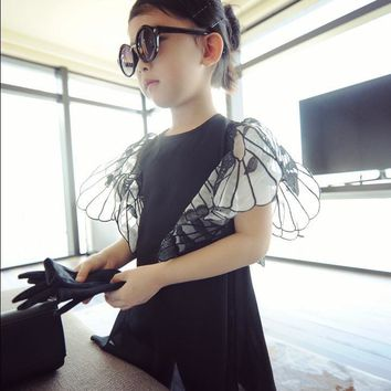 2-7y 2017 New Big Brand Style Europe and America Butterfly Wings Girls Chiffon Dress Baby Dress Kids Fashion Dress