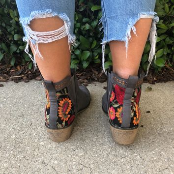 Lily Booties- Grey/Floral