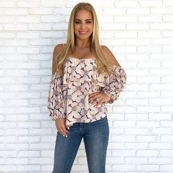 Floral Burst Cold Shoulder Top